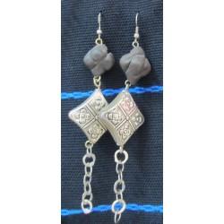 Earrings Rayhana &lozenge & black amber