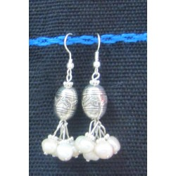 Earring Silver and white stone