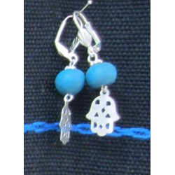 Earring Khomsa blue stone