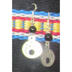 Earring Silver and black stone