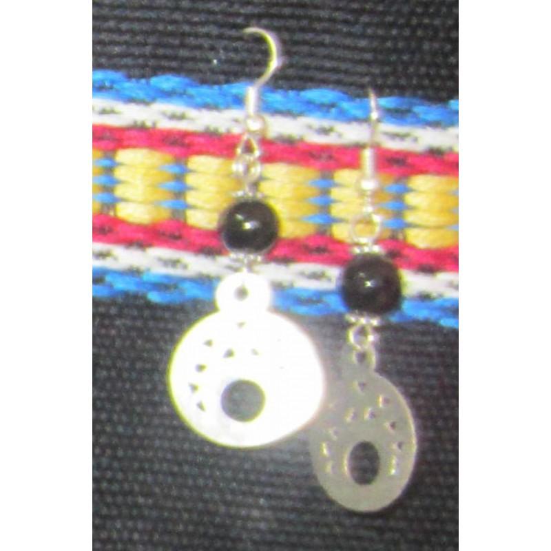 Boucle d 39 oreille argent et pierre noir - Fermoir boucle d oreille argent ...